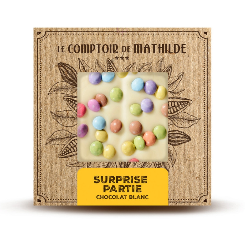 White Chocolate Tablet with coated chocolate candy