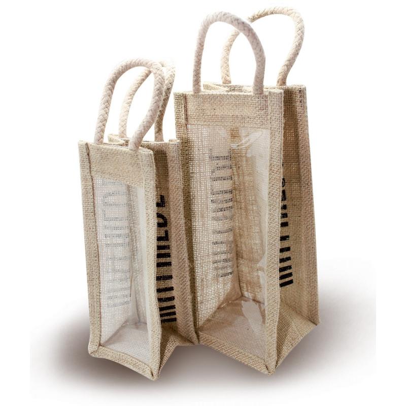 Small vertical jute bag