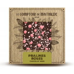 Tablette Pralines roses de Lyon - Chocolat noir