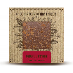 Milk chocolate tablet with crumbled biscuit