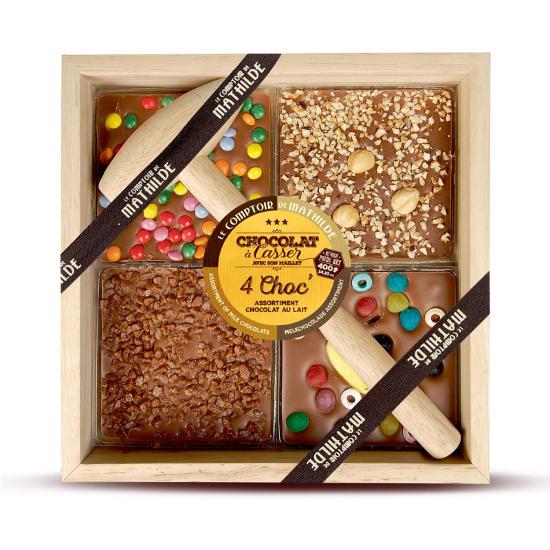 Milk chocolate with candies, fudge chips, hazelnuts and chocolate candies