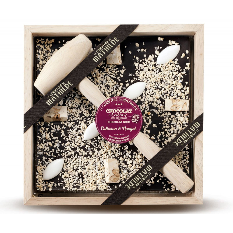 Dark chocolate with Calisson and Nougat