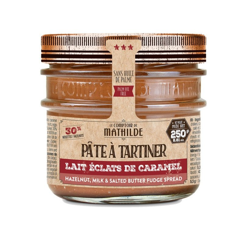 Pâte à Tartiner Chocolat Lait Noisettes Eclats de Caramel Beurre Salé 250g