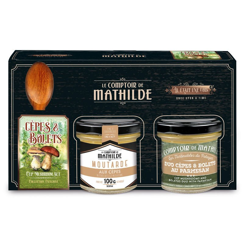 Cep Mushroom & Boletus spoon set mustard 100g spreadable parmesan 90g
