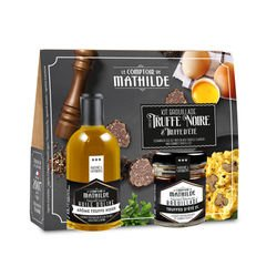 Scrambled egg set witgh black truffle flavour and summer truffle olive oil 5cl