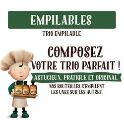 "Trio empilable ""Truffe"" moulin sel rose vinaigre huile d'olive 300g 25cl"