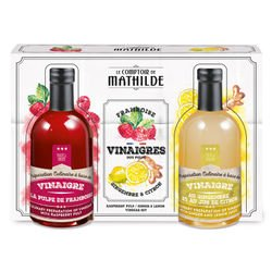 Raspberry pulp / ginger & lemon Vinegar set 2x3.38 fl.oz