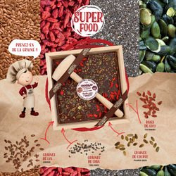 Superfood Dark Chocolate with goji berries and seeds with hammer 14.1oz