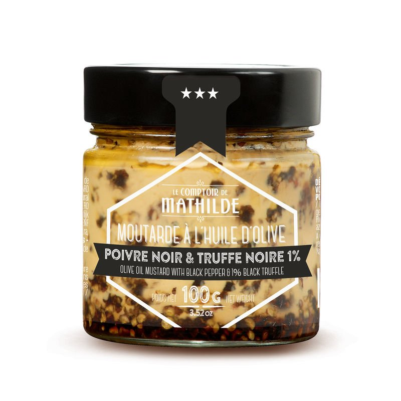 Moutarde à l'huile d'olive Poivre noir & Truffe Noire 1% - 100g