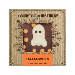 Milk chocolate Tablet with milk chocolate candies and chocolate Halloween decorations.