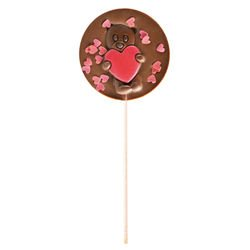 Milk chocolate lollipop red hearts gift
