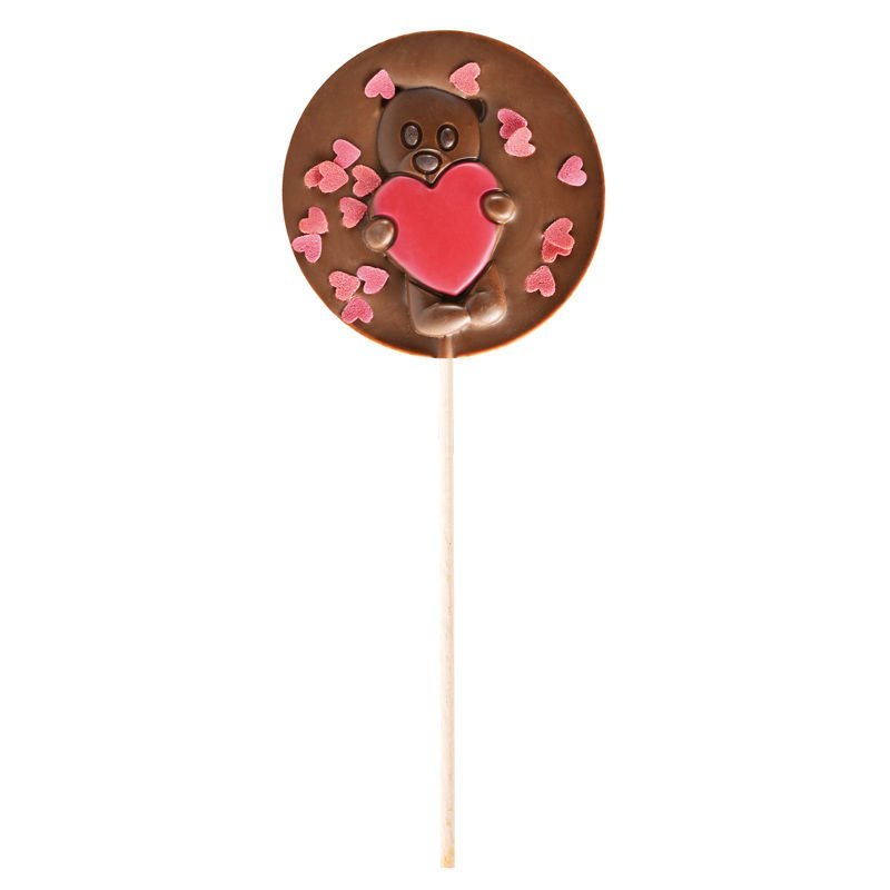 Milk chocolate lollipop red hearts gift