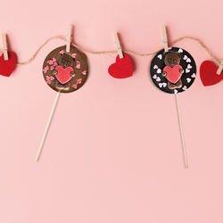 Sucette Chocolat Cœurs Rouges Saint Valentin Cadeau Amour