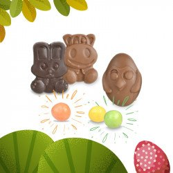 2 Chocolates easter and sparkling pearls
